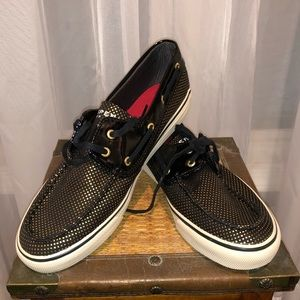 Black with Gold Polka Dot Sperrys